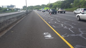 Severely cracked lane completed